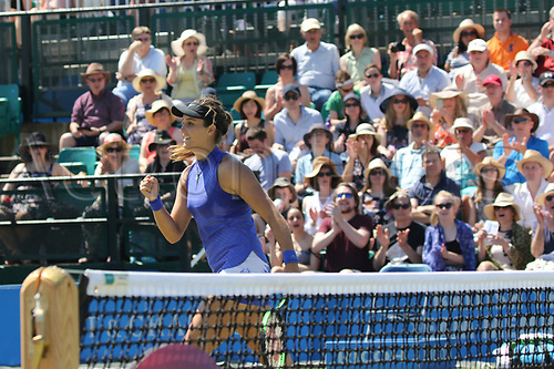 June 18th 2017, Nottingham, England;WTA Aegon Nottingham Open Tennis Tournament day 6;  Laura Robson of Great Britain shows delight on winning a key game in the second set of the Ladies Doubles Final