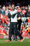 Jurgen Klopp manager of Liverpool during the English Premier League match at Anfield Stadium, Liverpool. Picture date: May 7th 2017. Pic credit should read: Simon Bellis/Sportimage