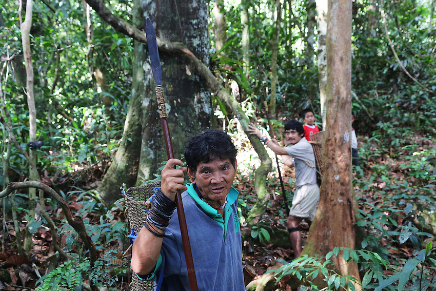 August 2012: Settled Penan, Baru and Menit, formerly nomadic, but still living a hunter-gatherer lifestyle, deep in the rainforest near the Kalimantan border. Forced to leave their traditional hunting grounds as they have been logged and destroyed. Limbang district, Sarawak, Borneo<br />