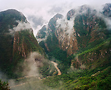 PERU, South America, Latin America, view of foggy mountains in Machu Picchu