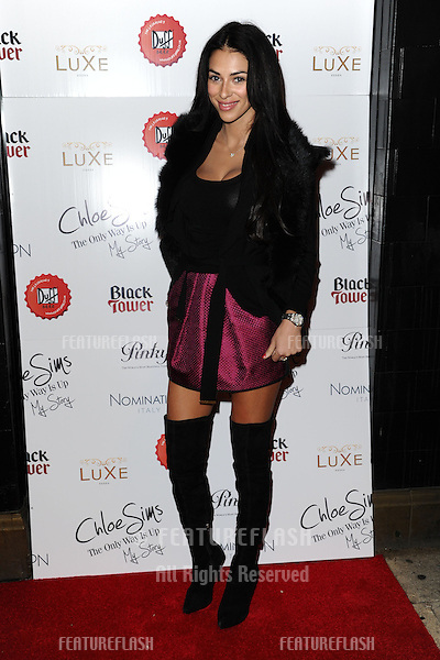 Georgia Salpa arriving for the launch of Chloe Sims' book at Luxe nightclub, Essex. 13/11/2012 Picture by: Alexandra Glen / Featureflash