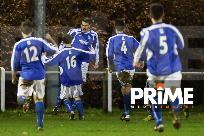 Dan Stafford (3rd left) celebrates scoring the opening goal during the Beds Senior Trophy Quarter Final at Ampthill Stadium, Bedfordshire, England on 12 December 2015. Photo by David Horn/PRiME Media Images