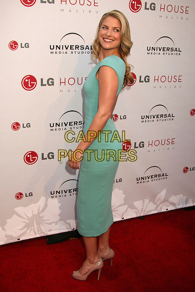 ALI LARTER .Universal Media Studios Emmy Party at LG House, Malibu, California, USA..August 2nd, 2007.full length blue turquoise teal green dress sleeveless looking over shoulder beige peep toe shoes .CAP/ADM/BP.©Byron Purvis/AdMedia/Capital Pictures