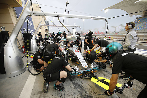 31.03.2016. Bahrain.  FIA Formula One World Championship  2016, Grand Prix of Bahrain, Pit stop training, Mercedes AMG Petronas Formula One Team