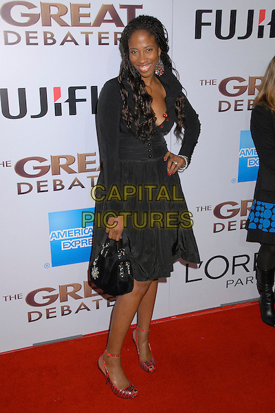 "SHONDRELLA AVERY.""The Great Debaters"" Los Angeles Premiere at the Arclight Cinerama Dome, Hollywood, California, USA..December 11th, 2007.full length black dress hand on hip red shoes bag purse .CAP/ADM/BP.©Byron Purvis/AdMedia/Capital Pictures."