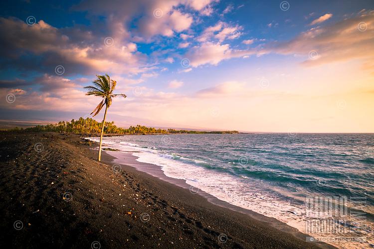 Afternoon scene at a camping beach along the western coastline of Hawai'i Island.