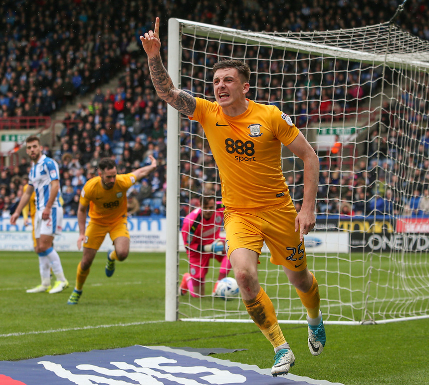 Preston North End's Jordan Hugill celebrates scoring his sides second goal <br /> <br /> Photographer Alex Dodd/CameraSport<br /> <br /> The EFL Sky Bet Championship - Huddersfield Town v Preston North End - Friday 14th April 2016 - The John Smith's Stadium - Huddersfield<br /> <br /> World Copyright &copy; 2017 CameraSport. All rights reserved. 43 Linden Ave. Countesthorpe. Leicester. England. LE8 5PG - Tel: +44 (0) 116 277 4147 - admin@camerasport.com - www.camerasport.com