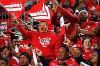 Fans celebrate a try during the 2017 Rugby League World Cup match between Toa Samoa and Mate Ma'a Tonga at FMG Stadium in Hamilton, New Zealand on Saturday, 4 November 2017. Photo: Dave Lintott / lintottphoto.co.nz