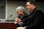 Nevada Assembly Speaker John Oceguera, D-Las Vegas, right, and Brian O'Callaghan, with the Las Vegas Metro Police Department, testify a measure to extend the prosecution period for identity theft during a hearing at the Legislature in Carson City, Nev. on Wednesday, March 2, 2011.  .Photo by Cathleen Allison