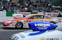 Jun. 1, 2012; Englishtown, NJ, USA: NHRA pro stock driver Jason Line during qualifying for the Supernationals at Raceway Park. Mandatory Credit: Mark J. Rebilas-