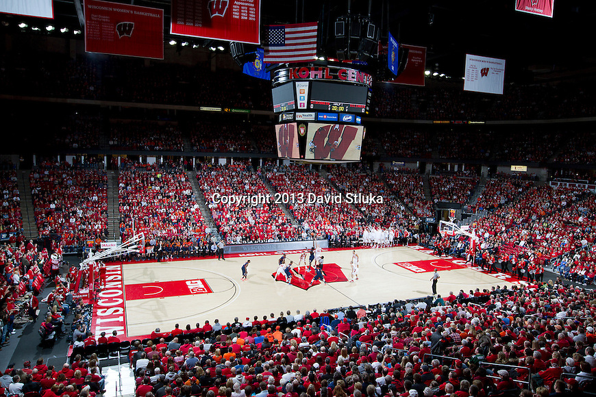 A general view of the Kohl Center during the opening tip-off of the Wisconsin Badgers NCAA Big Ten Conference college basketball game against the Illinois Fighting Illini Saturday, January 12, 2013 in Madison, Wis. The Badgers won 74-51. (Photo by David Stluka)