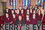 Children from Knockaderry National School, Farranfore, pose with their teacher Barbara McCarthy and Principal Kathleen Wall after being confirmed by Bishop Bill Murphy in Firies on Wednesday..