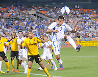 El Salvador midfielder Ramon Sanchez (7) heads the ball.  Jamaica defeated El Salvador 2-0 in a international friendly match at RFK Stadium, Wednesday August 15, 2012.