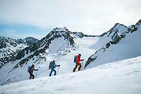 Climbing the Similaun, 3606 meters, during the Öztal ski tour, Austria