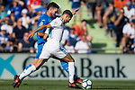 Jorge Molina Vidal of Getafe CF (L) fights for the ball with Achraf Hakimi of Real Madrid (R) during the La Liga 2017-18 match between Getafe CF and Real Madrid at Coliseum Alfonso Perez on 14 October 2017 in Getafe, Spain. Photo by Diego Gonzalez / Power Sport Images