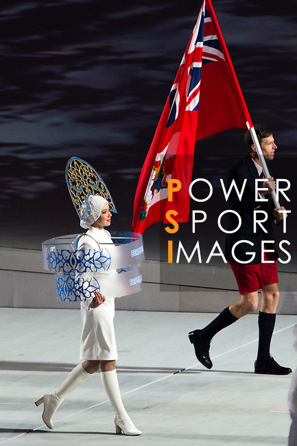 Olympic team of Bermuda during the parade of nations at the Opening ceremony of the 2014 Sochi Olympic Winter Games at Fisht Olympic Stadium on February 7, 2014 in Sochi, Russia. Photo by Victor Fraile / Power Sport Images