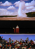 "St. Paul, MN - September 3, 2008 -- ""Old Faithful"" erupts in the background as Governor Sarah Palin of Alaska accepts the Republican nomination as Vice President of the United States on day 3 of the 2008 Republican National Convention at the Xcel Energy Center in Saint Paul, Minnesota on Wednesday, September 3, 2008.Credit: Ron Sachs / CNP.(RESTRICTION: NO New York or New Jersey Newspapers or newspapers within a 75 mile radius of New York City)"