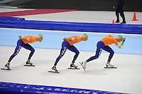 SCHAATSEN: HEERENVEEN: Thialf, World Cup, 04-12-11, Team Pursuit NED, Wouter olde Heuvel, Sven Kramer, Jan Blokhuijsen, ©foto: Martin de Jong