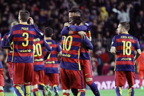 28.02.2016. Nou Camp, Barcelona, Spain. La Liga football match. Barcelona versus Sevilla. Neymar and Messi celebrating Messi goal for 1-1 in 31st minute
