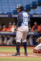 Tampa Bay Rays outfielder Yoel Araujo (73) during an Instructional League game against the Boston Red Sox on September 25, 2014 at Tropicana Field in St. Petersburg, Florida.  (Mike Janes/Four Seam Images)