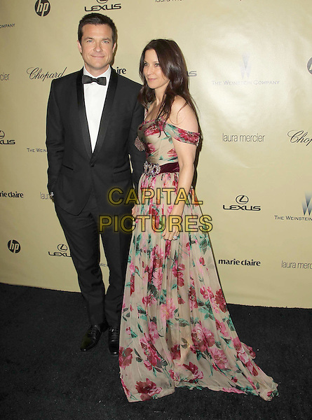 Jason Bateman & Amanda Anka.The Weinstein Company's 2013 Golden Globe After Party held at The Old trader vic's at The Beverly Hilton Hotel in Beverly Hills, California, USA..January 13th, 2013.globes full length black tuxedo white shirt tie pink grey gray blue print dress off the shoulder married husband wife .CAP/ADM/KB.©Kevan Brooks/AdMedia/Capital Pictures.
