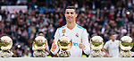 Cristiano Ronaldo of Real Madrid poses for photos with his FIFA Ballon Dor Trophies prior to the La Liga 2017-18 match between Real Madrid and Sevilla FC at Santiago Bernabeu Stadium on 09 December 2017 in Madrid, Spain. Photo by Diego Souto / Power Sport Images