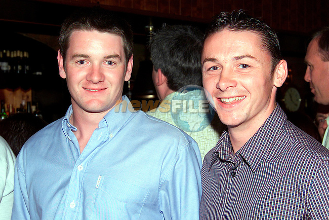 David Callan and Darren Reynolds enjoying a night out in Shearman's, Dunleer..Picture: Paul Mohan/Newsfile