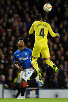 Ramiro Funes Mori of Villarreal CF heads clear from Alfredo Morelos of Rangers during Rangers vs Villarreal CF, UEFA Europa League Football at Ibrox Stadium on 29th November 2018