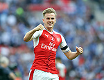 Rob Holding of Arsenal celebrates winning the FA Cup during the Emirates FA Cup Final match at Wembley Stadium, London. Picture date: May 27th, 2017.Picture credit should read: David Klein/Sportimage