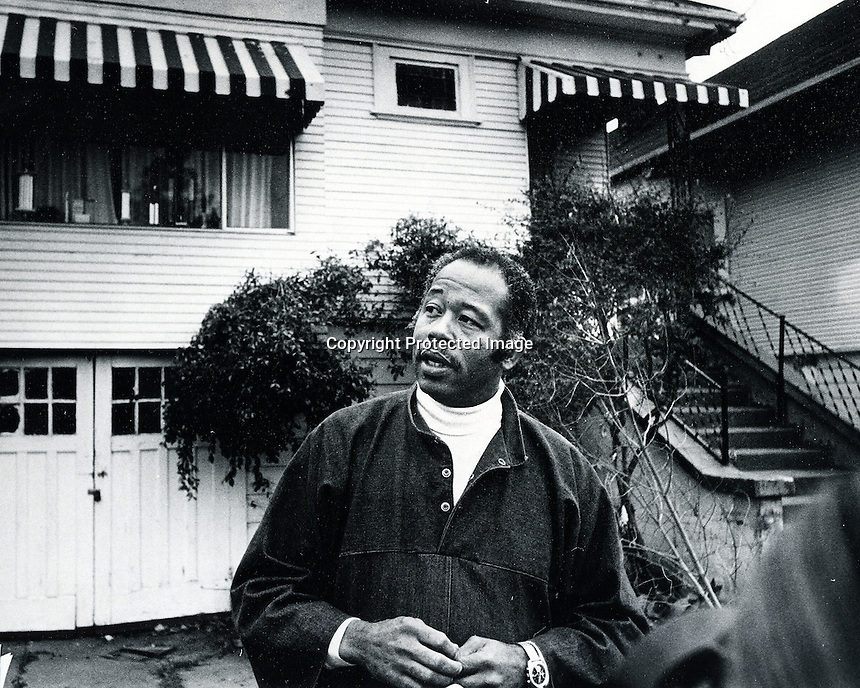 Former Black Panther Eldrige Cleaver in front of 1224 Magnolia St. in Oakland. (photo/Ron Riesterer)