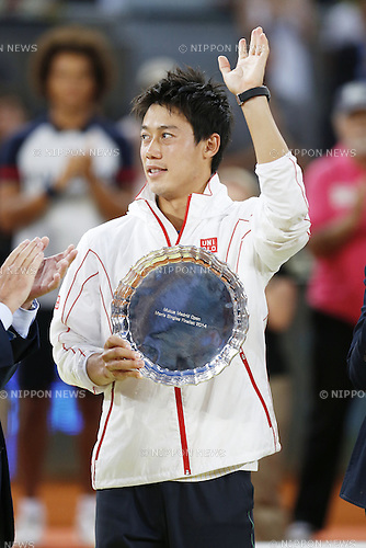 Kei Nishikori (JPN), MAY 11, 2014 - Tennis : Kei Nishikori of Japan waves with his runners-up trophy during ceremony of the men's singles final match of the Mutua Madrid Open tennis tournament at the La Caja Magica in Madrid, Spain, May 11, 2014. (Photo by AFLO)
