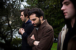 From left, Jon Bafus, Payam Bavafa, and Eric Ruud of Sholi walk near Lake Merritt in Oakland, CA December 21, 2008.