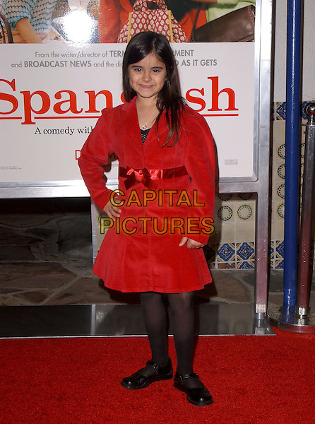 "VICTORIA LUNA.attends Columbia Pictures' Los Angeles Premiere of ""Spanglish"" held at The Mann's Village Theatre in Westwood, California, USA,December 9th 2004..full length red coat dress bow ribbon.Ref: DVS.www.capitalpictures.com.sales@capitalpictures.com.©Capital Pictures."