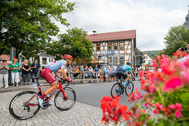 Jenthe Biermans (BEL) Team Katusha-Alpecin and Magnus Cort Nielsen (DEN) Astana Pro Team from the breakaway during Stage 4 of the Deutschland Tour 2019, running 159.5km from Eisenach to Erfurt, Germany. 1st September 2019.<br /> Picture: ASO/Marcel Hilger | Cyclefile<br /> All photos usage must carry mandatory copyright credit (© Cyclefile | ASO/Marcel Hilger)