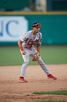 Peoria Chiefs third baseman Edwin Figuera (12) during a Midwest League game against the Fort Wayne TinCaps on July 17, 2019 at Parkview Field in Fort Wayne, Indiana.  Fort Wayne defeated Peoria 6-2.  (Mike Janes/Four Seam Images)