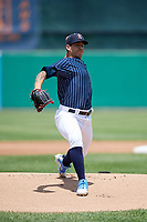 Syracuse Chiefs starting pitcher Tommy Milone (33) delivers a pitch during a game against the Scranton/Wilkes-Barre RailRiders on June 17, 2018 at NBT Bank Stadium in Syracuse, New York.  Syracuse defeated Scranton/Wilkes-Barre 4-2.  (Mike Janes/Four Seam Images)
