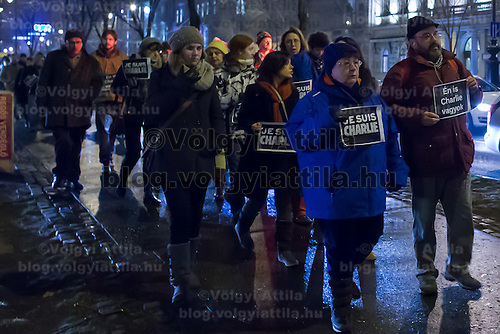 Participants march to show their support for the terrorist attack victim staff of the Charlie Hebdo satirical weekly in Budapest, Hungary on January 09, 2015. ATTILA VOLGYI