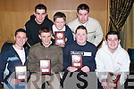 TRAVELLED: Young handballers who travelled from Lispole and An Ghaeltacht to be presented with their Handball awards at Ballyroe Heights Hotel, Tralee on Friday night. Front l-r: Kieran O'Sullivan, Colm Galvin, Kevin O'Shea and Colm O Luing. Back l-r: Kevin Moriarty, Garreth Noonan and Adrian Rayel..