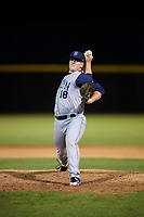 Brooklyn Cyclones relief pitcher Billy Oxford (18) delivers a pitch during a game against the Tri-City ValleyCats on August 21, 2018 at Joseph L. Bruno Stadium in Troy, New York.  Tri-City defeated Brooklyn 5-2.  (Mike Janes/Four Seam Images)