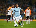 Sergio Aguero of Manchester City gets clear of Fred of Shaktar Donetsk during the Champions League Group F match at the Emirates Stadium, Manchester. Picture date: September 26th 2017. Picture credit should read: Andrew Yates/Sportimage