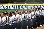 30 MAY 2016: Messiah College lines up for the National Anthem before the start of the Division III Women's Softball Championship, held at the James I Moyer Sports Complex in Salem, VA.  University of Texas-Tyler defeated Messiah College 7-0 for the national title. Don Petersen/NCAA Photos
