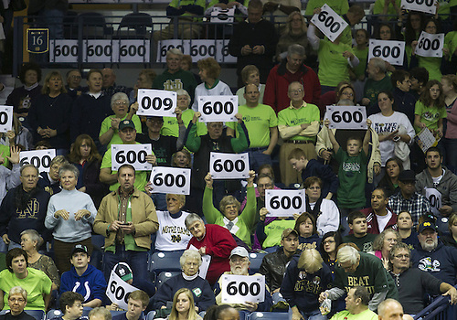 December 29, 2012:  Fans hold up signs to honor Notre Dame head coach Muffet McGraw 600th victory prior to NCAA Women's Basketball game action between the Notre Dame Fighting Irish and the Purdue Boilermakers at Purcell Pavilion at the Joyce Center in South Bend, Indiana.  Notre Dame defeated Purdue 74-47.