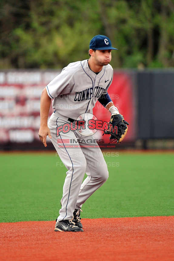 Connecticut Huskies infielder Tom Verdi (6) during game against Rutgers Scarlet Knights at Bainton Field in Piscataway, New Jersey;  April 29, 2011.  Rutgers defeated Connecticut 8-3.  Photo By Tomasso DeRosa/Four Seam Images