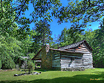 HDR image of the Walker Sisters Cabin in the Great Smoky Mountains National Park.