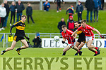 Michael Burns, Dr Crokes in action against Shane Cronin, East Kerry  during the Kerry County Senior Club Football Championship Final match between East Kerry and Dr. Crokes at Austin Stack Park in Tralee, Kerry.