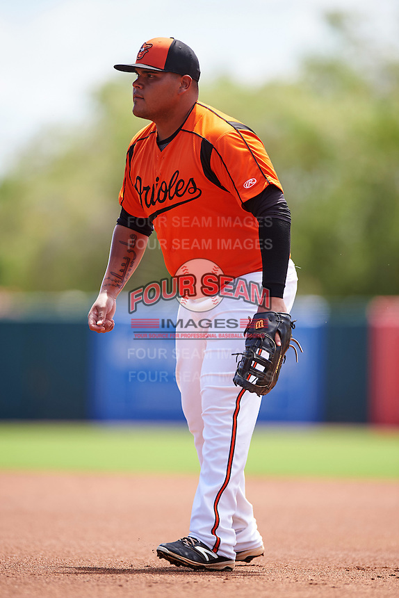 GCL Orioles first baseman Carlos Diaz (14) during a game against the GCL Twins on August 11, 2016 at the Ed Smith Stadium in Sarasota, Florida.  GCL Twins defeated GCL Orioles 4-3.  (Mike Janes/Four Seam Images)