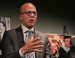 """Lester Holt, anchor of """"NBC Nightly News"""" talks to College of Communication students during an event hosted by DePaul's Center for Journalism Integrity and Excellence, Thursday, April 20, 2017. The center honored Holt and Ben Welsh, a DePaul alumnus and data journalist with the Los Angeles Times, for work that embodies the highest principles of journalism, including truth, accuracy, fairness and context. (DePaul University/Jeff Carrion)"""