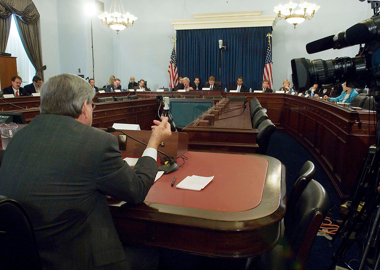 9/12/06--House Ways and Means Chairman Bill Thomas, R-Calif., during the House Republican Policy Committee forum to hear testimony from committee and subcommittee chairmen who held immigration field hearings during the month of August. House Republicans held 22 hearings in 13 states on the nation's border security system. Rep. Adam H. Putnam was tasked last week with assembling a tough border security package that House Republicans hope will provide their party a boost leading up to Election Day. The Florida Republican will serve the Òsecurity firstÓ approach favored by his caucus, organizing a policy forum Tuesday that will generate ideas he will turn into legislative proposals designed to put political pressure on those who favor a broader Senate immigration bill. But on Wednesday, Putnam will share a platform with some of the very people his House leadership is looking to squeeze: supporters of the other chamberÕs version of an immigration overhaul. Putnam has accepted an invitation to join a coalition of business interests and Sen. Larry E. Craig, R-Idaho, at a rally outside the Capitol urging passage of the SenateÕs ÒcomprehensiveÓ immigration bill this year. The groups Putnam will stand with Wednesday want a guest worker program and a path to citizenship for most of the estimated 12 million illegal immigrants now in the country Ñ positions that most of PutnamÕs GOP House colleagues oppose. Putnam is chairman of the Policy Committee. Congressional Quarterly Photo by Scott J. Ferrell