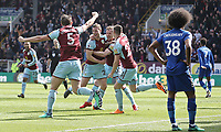 Kevin Long (Centre) celebrates scoring his side's second goal with team-mates (from left) James Tarkowski, Ashley Barnes and Stephen Ward<br /> <br /> Photographer Rich Linley/CameraSport<br /> <br /> The Premier League - Burnley v Leicester City - Saturday 14th April 2018 - Turf Moor - Burnley<br /> <br /> World Copyright &copy; 2018 CameraSport. All rights reserved. 43 Linden Ave. Countesthorpe. Leicester. England. LE8 5PG - Tel: +44 (0) 116 277 4147 - admin@camerasport.com - www.camerasport.com