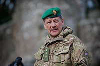 Wednesday 26 March 2014<br /> Pictured:  Colenel  Murray addresses the troops<br /> Re: 236 Signal Squadron ( part of 14 Signal regiment who are based at Cawdor Barracks in Brawdy Parade through the streets of  St.Davids Pembrokeshire led by Haverfordwest Air Training Corps Band and are then Presented with medals